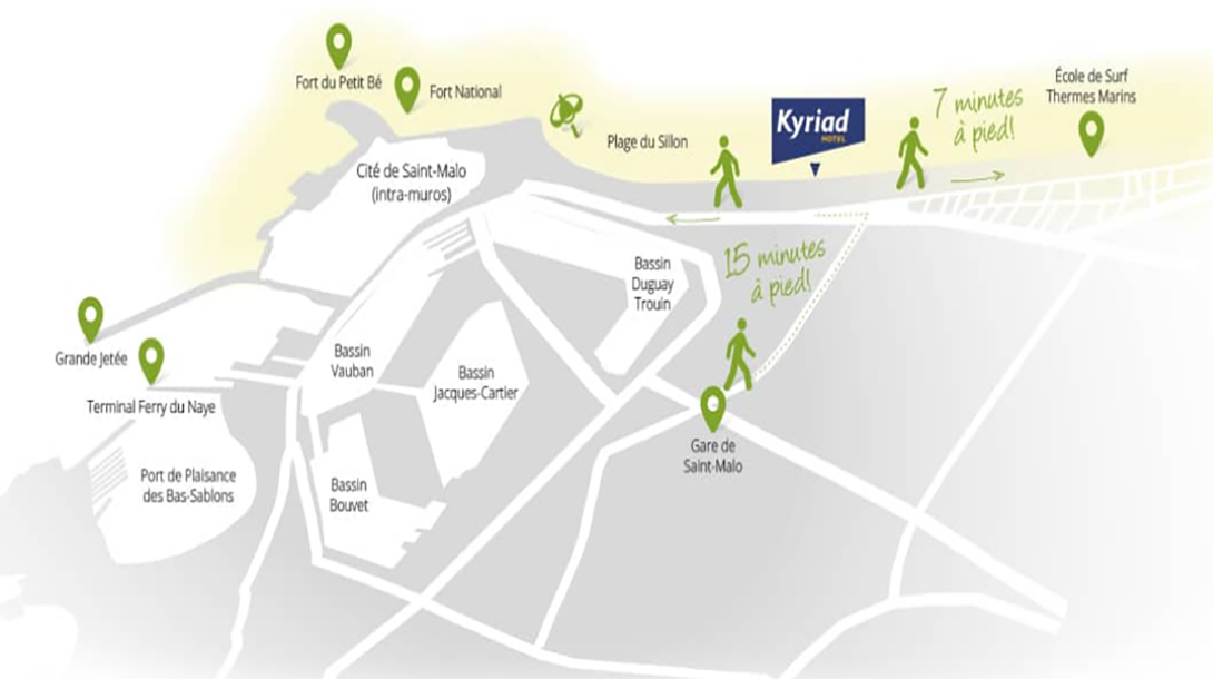 PLan de situation proche  Kyriad Hotel Saint Malo - Gare-Intra Muois Thermes